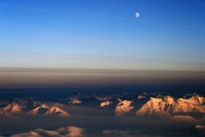 Moon over northeast Greenland.